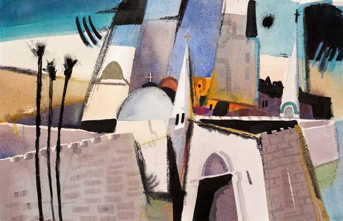 Three Palms, by Corky Normart (Jerusalem series)
