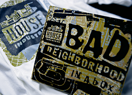 Bad Neighborhood font family merchandising, House Industries