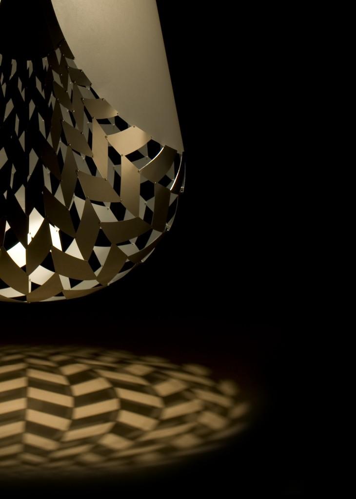 Aluminum light installation by David Trubridge