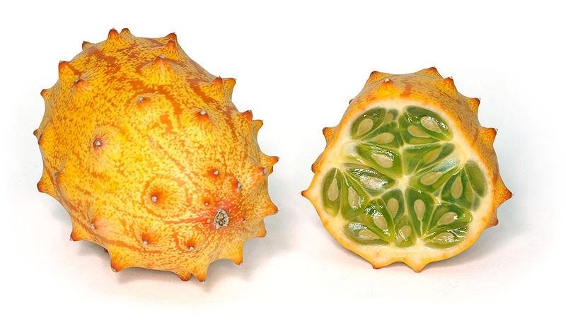 The Kiwano fruit, which looks to have inspired the character that follows