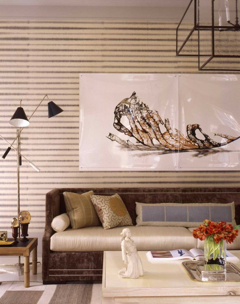 stripes draw eye around the space and play off artwork in this highend project