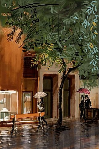 Lluvia en el Paseo, iPhone painting by Xoan Baltar