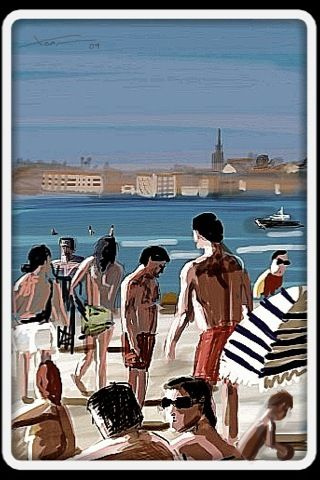 Playa América Beach, iPhone painting by Xoan Baltar