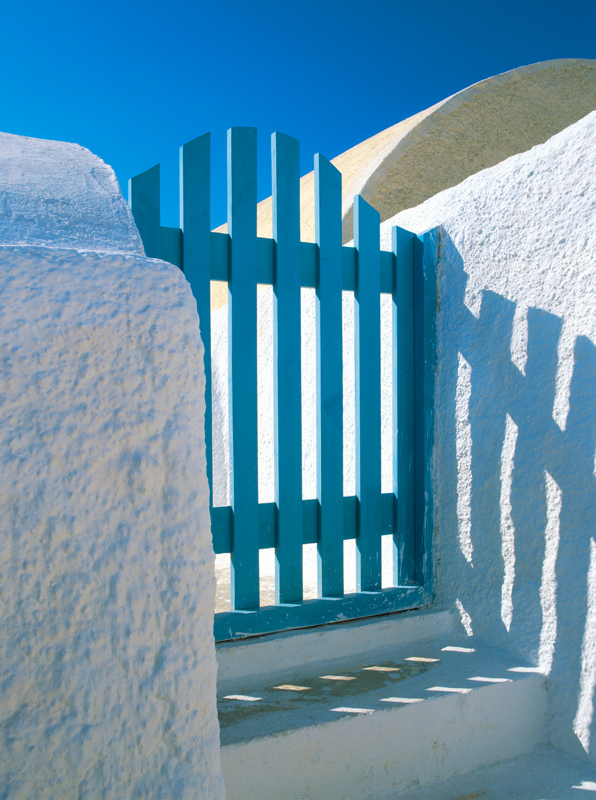 Gate in Santorini, Greece - photograph by Jim Nilsen