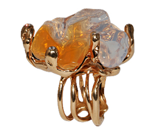 Medusa ring in rose gold with fire opal and diamonds by Luna Scamuzzi