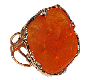 Organic ring with fire opal and diamonds by Luna Scamuzzi