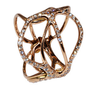 Tatuaggio ring in rose gold with diamonds by Luna Scamuzzi