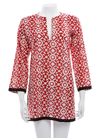 Classic kurta in Elsa red, Roberta Roller Rabbit line