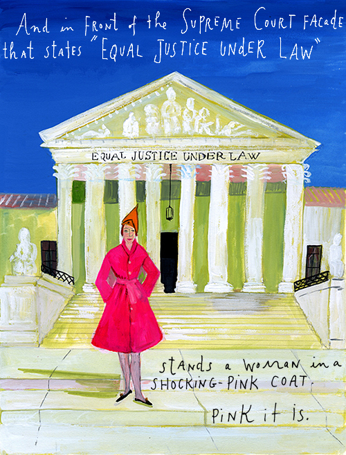 Pink coat, by Maira Kalman