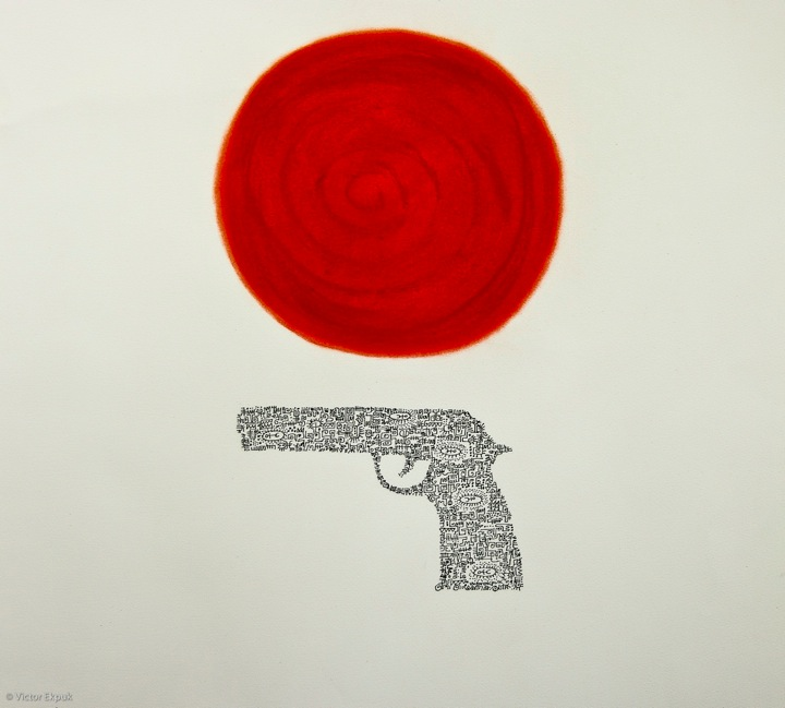 detail of Guns Do Not Kill People by Victor Ekpuk