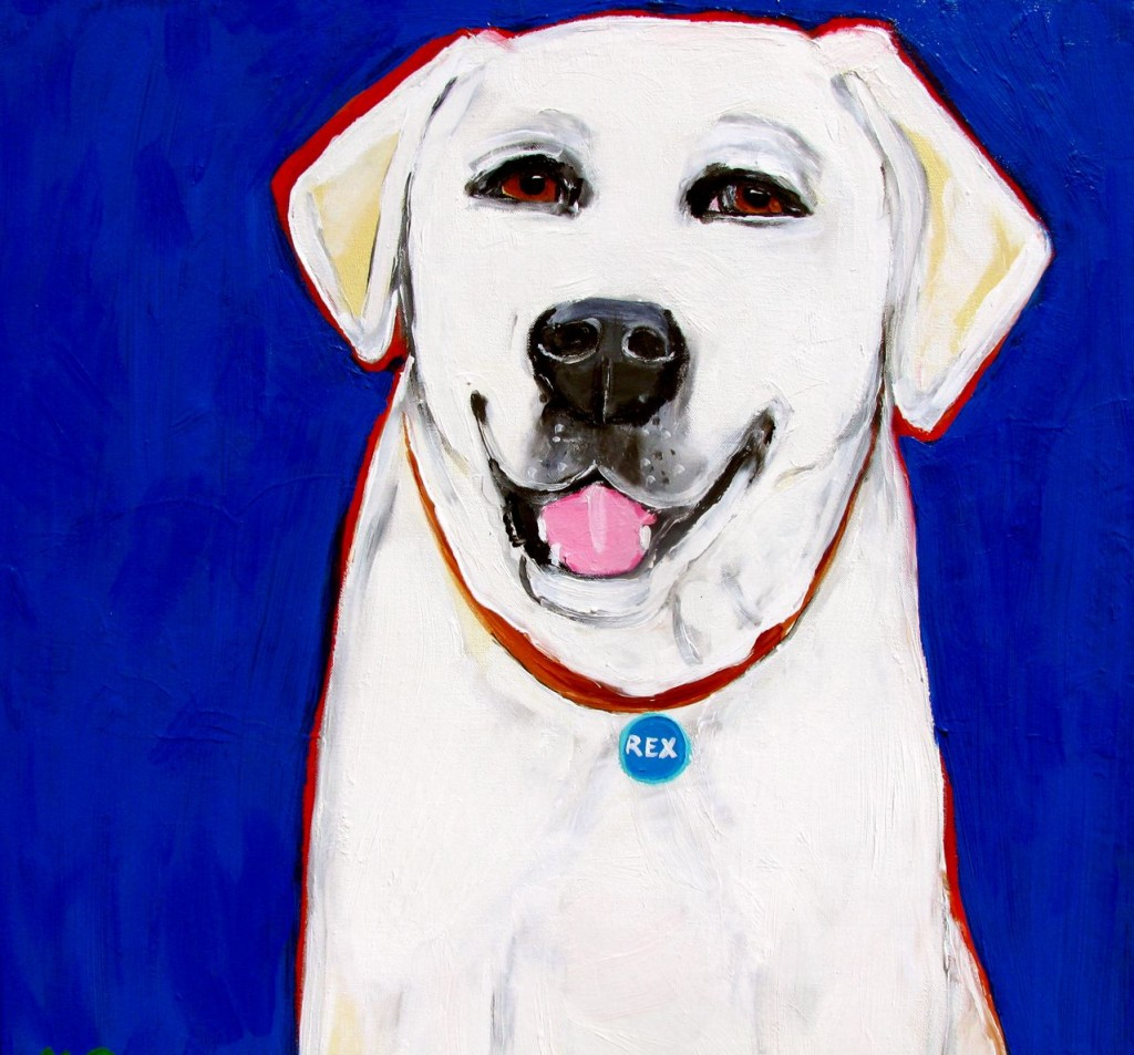 Portrait of singer Sheryl Crow's dog Rex by Julia McClurg