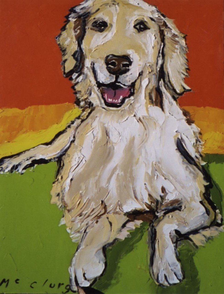Portrait of actress Kristen Davis's dog by Julia McClurg