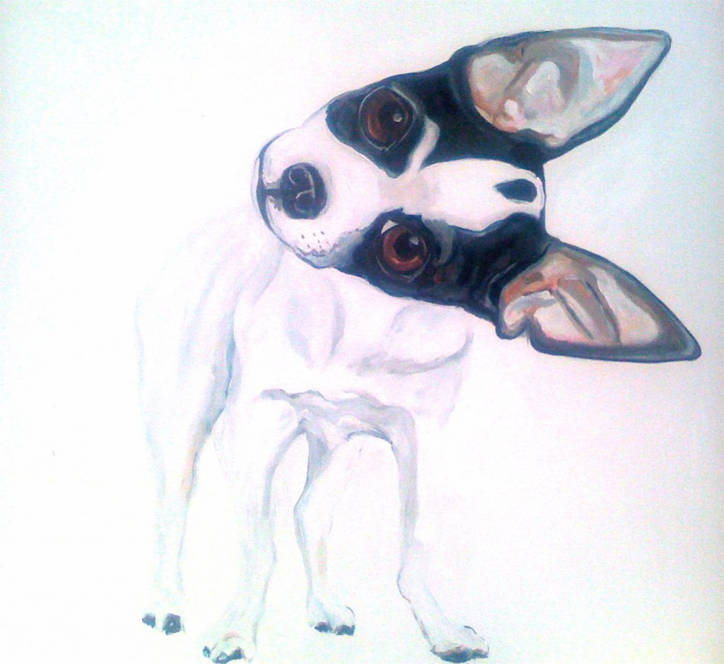 A white-on-white dog portrait by Julia McClurg for Lulu Bella