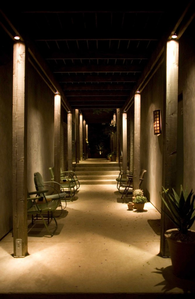 Exterior walkway at Hotel San José, property of Liz Lambert