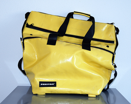 Yellow FREITAG back posted by fan on Flickr