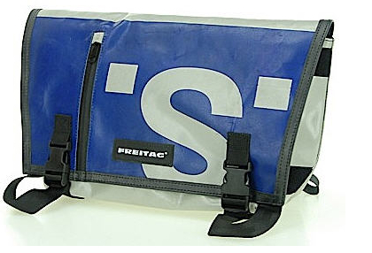 Blue FREITAG bag posted by customer on Flickr