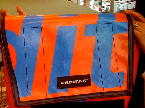 Orange and blue FREITAG bag