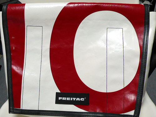 Red and white FREITAG bag