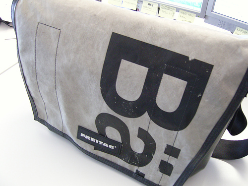 White and black FREITAG bag posted by customer on Flickr