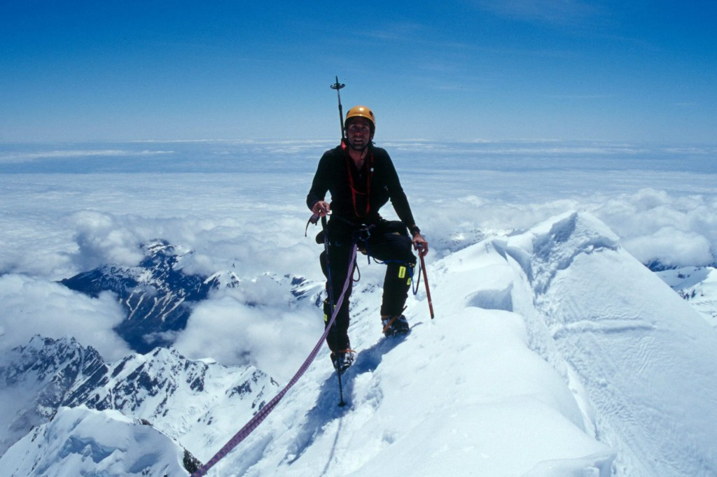 Erik Weihenmayer on the summit of Mt. Cook, New Zealand
