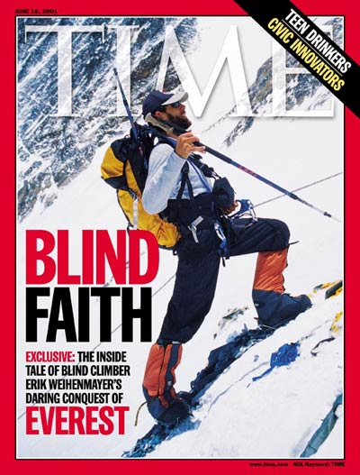 Erik Weihenmayer on the cover of TIME magazine