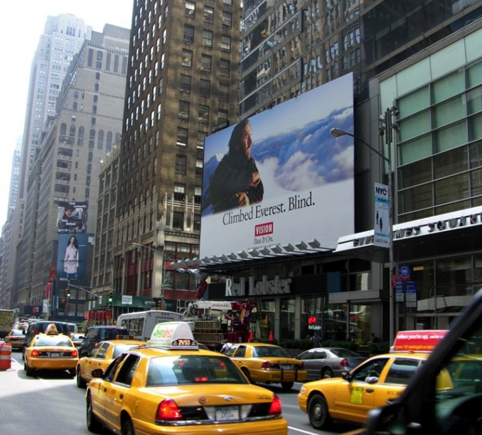 Erik Weihenmayer on Times Square billboard for Foundation for a Better Life