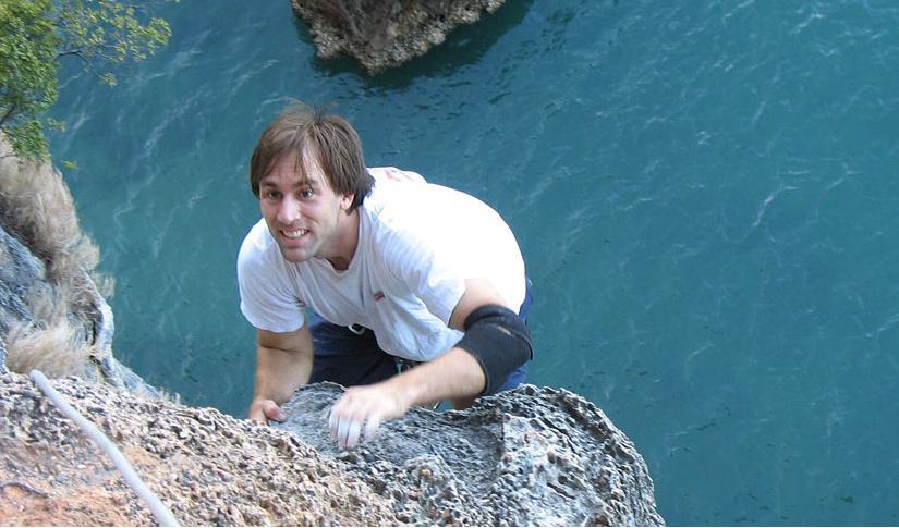 Erik Weihenmayer climbing in Thailand
