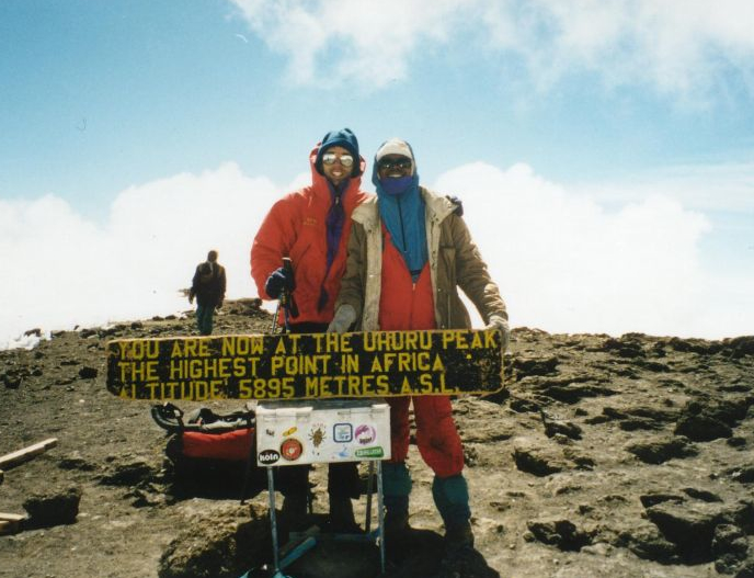 Erik Weihenmayer on summit of Mt. Kilimanjaro