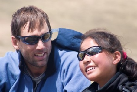 Erik Weihenmayer with one of the blind Tibetan kids he led to Mt. Everest's advanced base camp